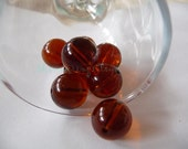 Round beads, glass, chez, supplies, jewelry, pale, round, brown, amber, coffee, pressed, glass, beads, supplies, jewelry, beading, cognac, 8