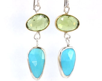 Rose Cut Peridot & Turquoise Earrings