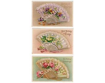Victorian Lace Hand Fan Printable Postcards, Instant Download, Digital Pansy Postcard, Lily of the Valley Post Card, Pink Roses Postcards