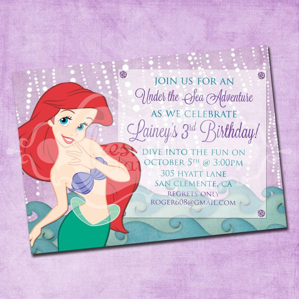 Ariel The Little Mermaid Birthday Invitation