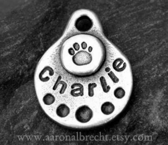 Dog Tags for Dogs - Dog Tag - Small Pet Tag - Pet ID - Personalized - Paw Print Stamp