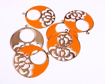 48mm Large round flower filigree charm pendants gold and enamel orange - 6 pieces (1172) - Flat rate shipping