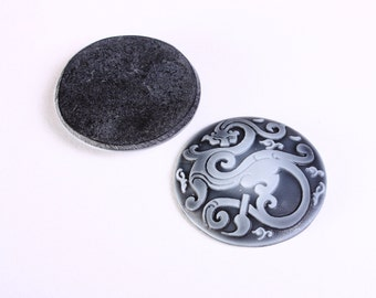 Sale Clearance 20% OFF - 2 Dragon black and grey round resin cabochon 34mm 2pcs (1174)