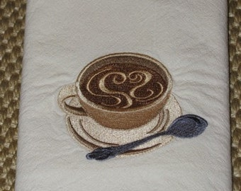 Coffee Swirls Towel- DISCOUNTED for FLAW