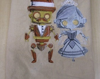 Steampunk Robot Couple Towel- DISCOUNTED for FLAW