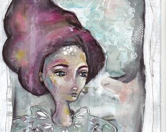 fine art print, fairy tale art, romantic, magical, wall art, mixed media print, feminine