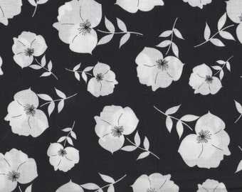 SALE, Floral Fabric, White Flowers, Twilight by Quilting Treasures, White Floral, Floral, Black Floral, 1 yard fabric, 00431