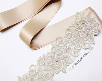 Light Gold Flower Metallic Lace with Champagne Satin Sash // Bridal Sash // SH-03