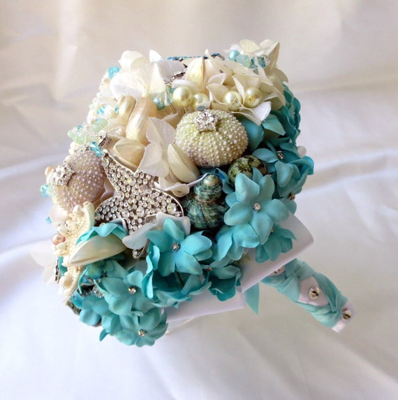 Beach Wedding Flowers: Items Similar To Seashell Wedding Bouquet, Light Blue