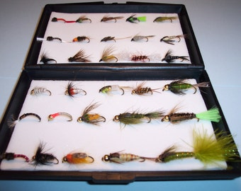 box of 30 Assorted single NYMPH TROUT fishing fies this would make  Perfect Gift for any angler