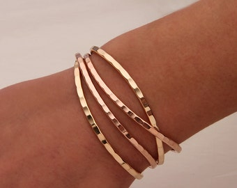 Thin Hammered Cuff Bracelets, Gold, Rose Gold