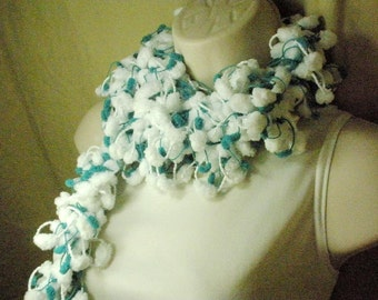 Teal and White Pom Pom Scarf