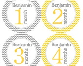 Custom Monthly Stickers with Name Added - Custom Baby Boy or Girl Month Stickers - Grey and Yellow Chevron