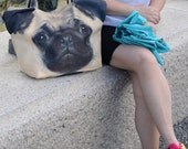 Pug, Pug bag, Pug tote, pet tote, Pug portrait bag, Pug shoulder bag, dog lover bag, dog print bag, dog portrait bag, D008