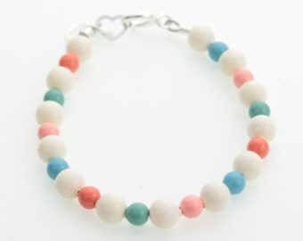 Multi Color Coral Pearls Beaded Bracelet (BCM)