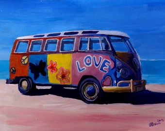 Surf Bus Series - The Summer of Love VW Bus - Limited Edition Fine Art Print