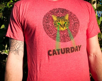 Mayan Laser Caturday Red Tee with neon green laser eyes