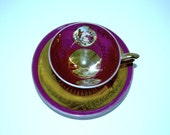 Demitasse set Royal Vienna courting couple  demitasse set beehive mark dark pink and gold china