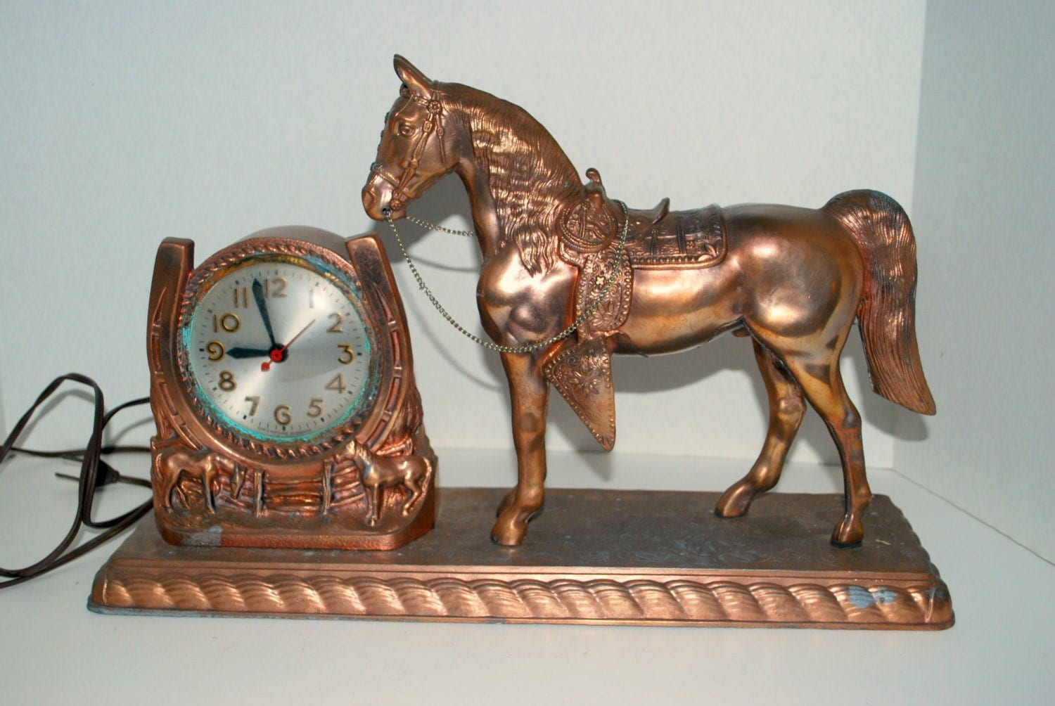 Vintage Bronze Horse Clock Horse Shoe Clock Sessions Electric