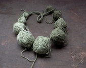 Ombre green chunky necklace, knitted statement jewelry, OOAK geometric necklace