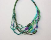 Fiber art statement necklace, knitted jewelry with bamboo beads, eco friendly, green teal turquoise purple, OOAK