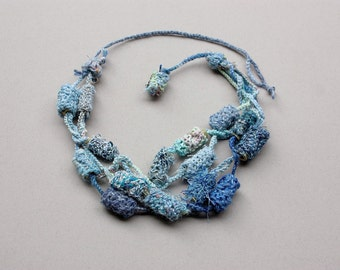 Blue knitted multi strand necklace with bamboo beads, OOAK