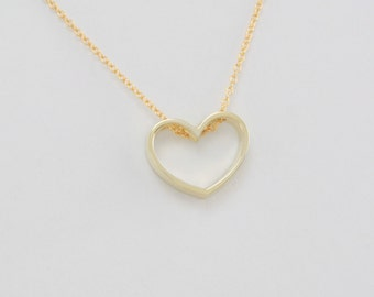 Large Heart Pendant in Solid 14K Gold openwork