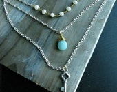 3 Layered Necklace with Pearls, Gemstone, and Key