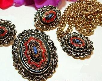 Sarah Cov Brooch Pendant & Earring Parure Set Red Blue Moroccan Mosaic Persian Design Vintage
