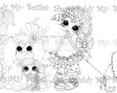 INSTANT DOWNLOAD Digi Stamps Big Eye Big Head Dolls Digi Bestie Puppy Park Party By Sherri Baldy