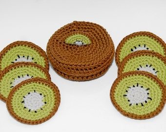 Kiwi Coasters With Matching Box- Set Of 6- Set Of 6 With Matching Box- Crochet Coasters- Kawaii-Crochet Food Coaster-Crochet Kiwi-Home Decor