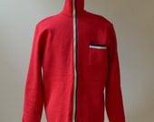 Vintage Rare 1970's Jean-Claude Killy Cardigan Sweater/Zipper Sweater Vest/100% Wool Men Zipper Cardigan/Men Red Cardigan/Small & Medium