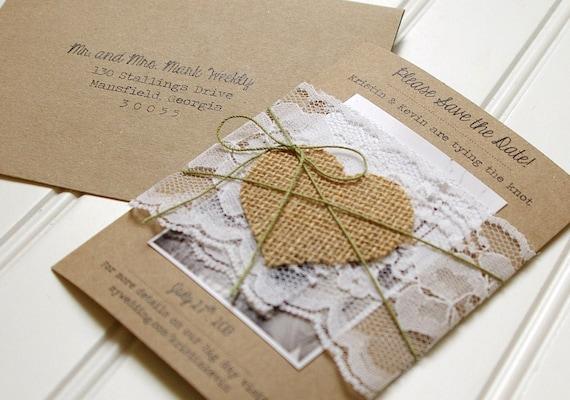 Save the dates burlap handmade kraft paper rustic wedding for Hochzeitseinladungen vintage mit spitze