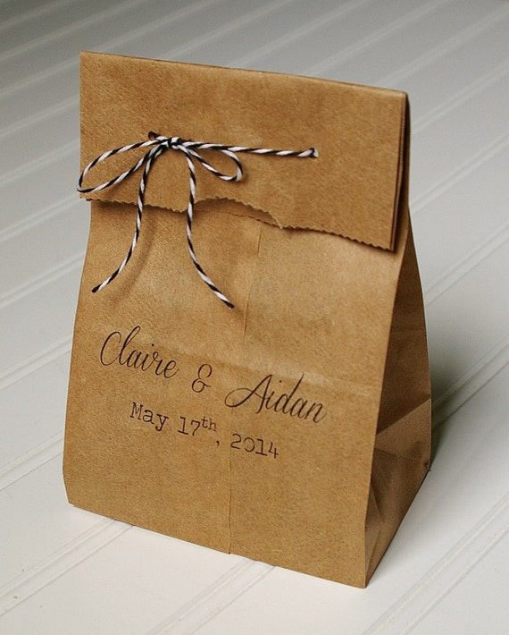 Personalized Wedding Favor Bags- Rustic Paper Bags in Custom Colors ...