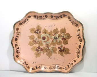 Vintage Large Oval Chippy Shabby Hand Painted Gold and Pink HUGE Tole Serving Tray Hollywood Regency