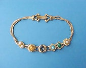 Pretty Little Dainty Vintage Jeweled Slide Bracelet