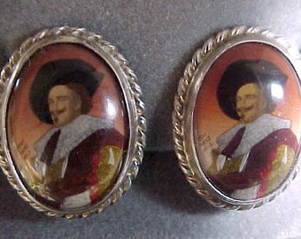 Beautiful English Sterling Silver Earrings with Franz Hals Painting Musketeer Gentleman