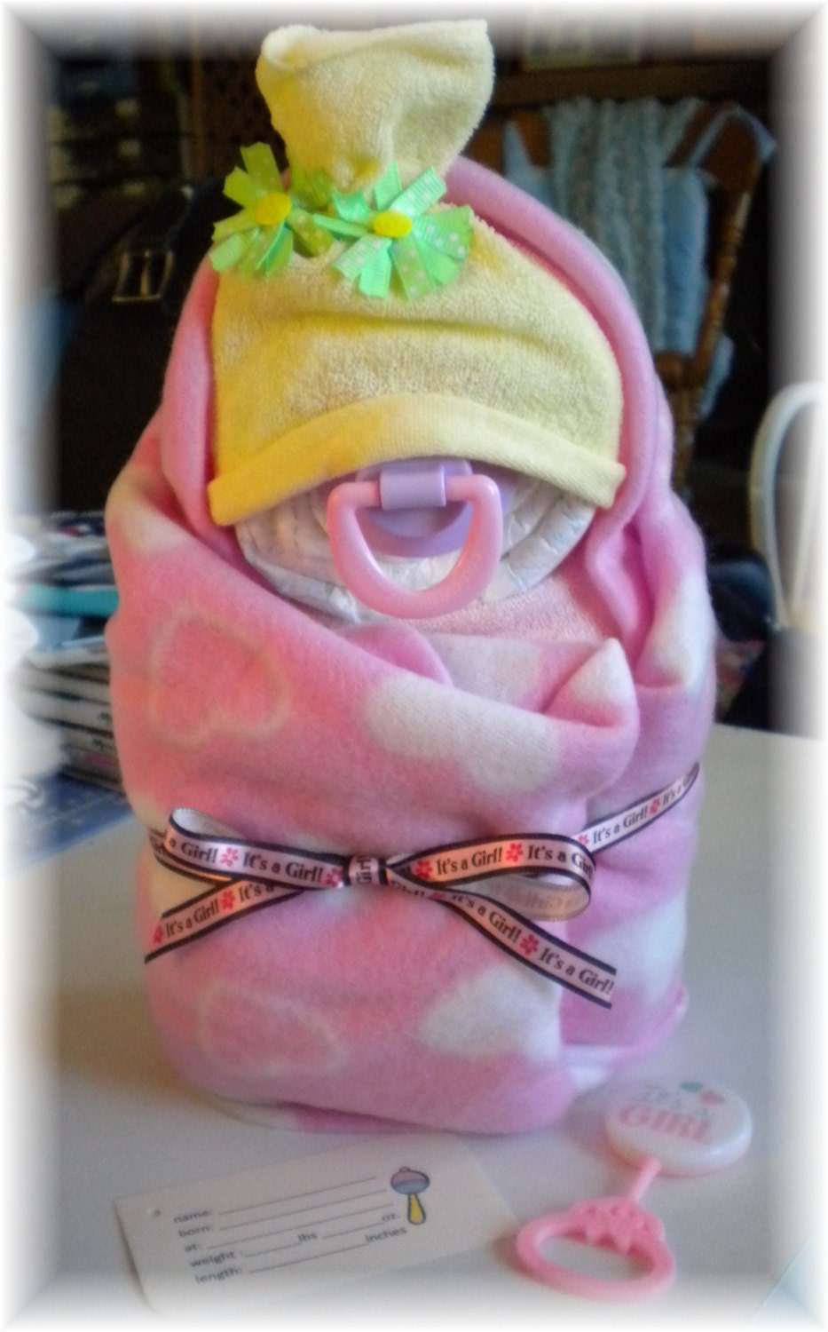 Baby Gift Nappy Cake : Diaper cake swaddle me girl baby shower gift
