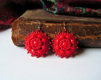 Red Beadwork Earrings Bead embroidery earrings Red dangle Earrings Red Earrings Bead embroidered jewelry MADE TO ORDER