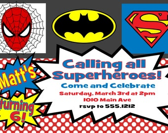 Superhero Birthday Party Invitation 4x6 or 5x7