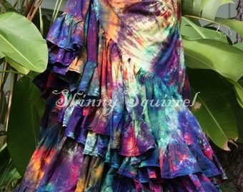Tribal belly dance skirt-tie dye dark rainbow, ATS, SCA, fusion,tribal style belly dance, bohemian