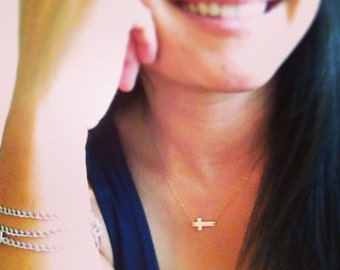 Cross Necklace - Hammered Sideways Cross Necklace - Linked Cross Necklace - Everyday Wear - Minimalistic Jewelry/ Mothers Gift/ Holiday Gift