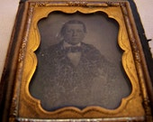 Civil War Tin Type Photo in Wooden Paper Covered Case c. 1860's