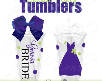 Bride Wedding Party Gifts Personalized 16 oz. Acrylic Tumblers