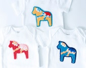 Blue Swedish Dala Horse Appliqued Onesie, Size 6 Months, Ready-to-Ship