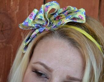 Yellow flower ribbon streatch headband for women and teen girls