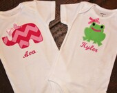 Pink Chevron Elephant or Green Frog personalized onesie or tshirt