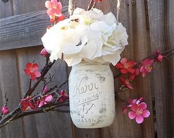 Hanging Jar Vases - SHABBY CHIC White Ivory Mason Jar Vases / Candle Holders - Set of 10