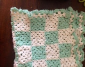 Vintage Hand Knit Teal and White Baby Blanket
