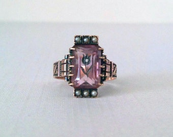 Victorian Engagement Ring Rose of Sharon Antique Amethyst Diamond Flower